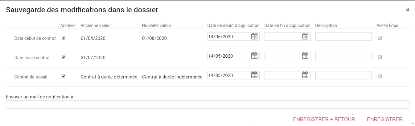 archiver une modification de contrat